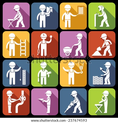 Construction worker repairman mechanic silhouettes icons white set isolated  illustration - stock photo