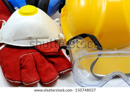 Construction worker safety equipment - stock photo