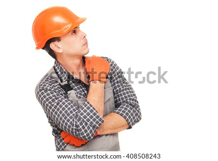 Construction worker thinking and looking away, isolated on white - stock photo
