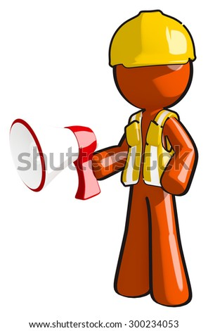 Construction worker with big bullhorn - stock photo