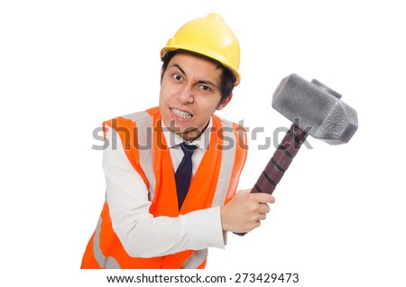 Construction worker with hammer isolated on white - stock photo