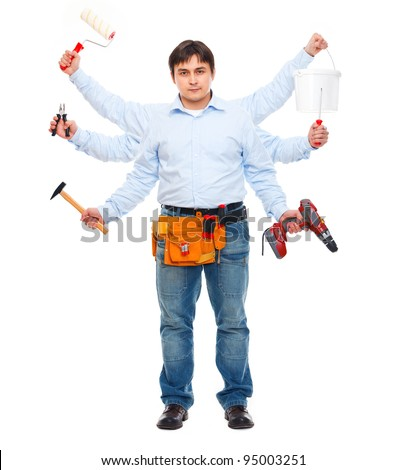 Construction worker with six hands. Do-all man concept - stock photo