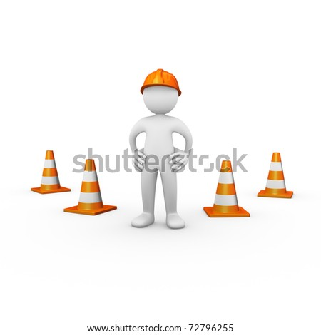 Construction worker with traffic cones - stock photo