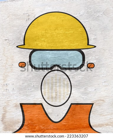 construction worker with wood grain texture - stock photo