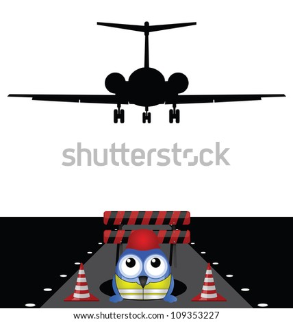Construction worker working on runway isolated on white background - stock photo