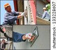 Construction Workers At Work. Collage of photographs showing builders at facade plastering works. - stock photo