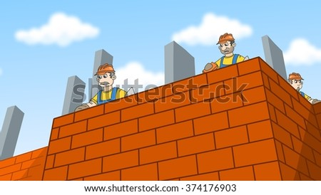 Construction workers laying bricks. Builders wearing a hard hat building a brick wall. Cartoon illustration. - stock photo