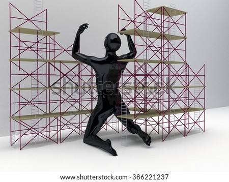 Construction Zone and An Enormous Person figure  - stock photo