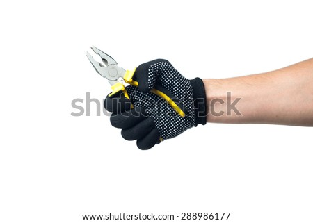 Constructor hand in black work gloves holding pliers. isolated on white backround. - stock photo