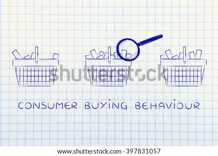 consuer buying behaviour: magnifying glass analyzing shopping baskets with different amounts of products inside (semi-empty to full) - stock photo