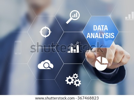 Consultant showing data analysis concept on screen with charts for business intelligence and strategy - stock photo