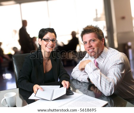 Consultation in the lobby on the bank. - stock photo