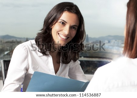 Consultation with insurance agent - stock photo