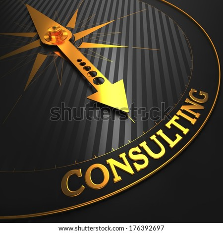 Consulting - Golden Compass Needle on a Black Field Pointing. - stock photo