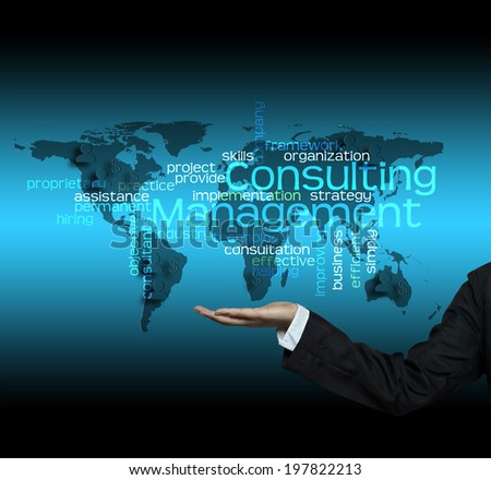 Consulting Management concept - hand hold Business Trends info - stock photo