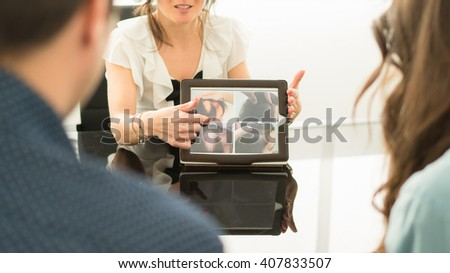 Consulting to treat hair and baldness in a trichological center. - stock photo