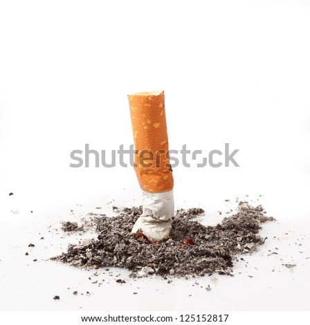 consumed cigarette in white background - stock photo