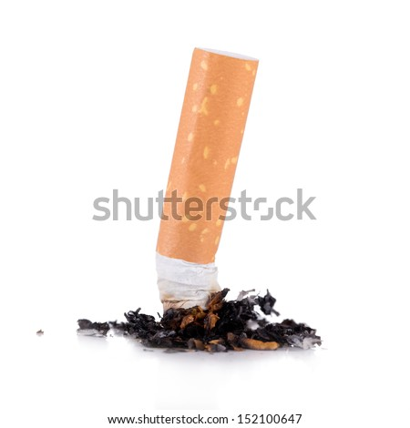 consumed cigarettes on white background - stock photo