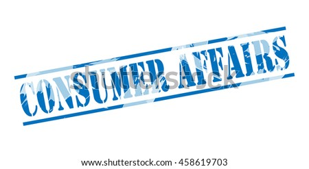consumer affairs blue stamp on white background - stock photo