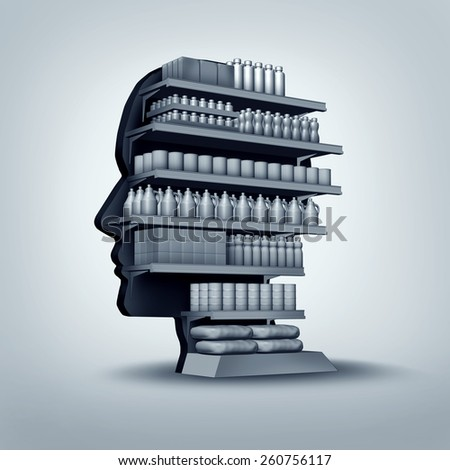 Consumer and customer concept as a store shelving unit shaped as a human head with generic products for sale as an economic and business symbol for personalized marketing. - stock photo