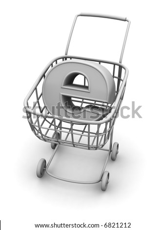 Consumer basket with sign for internet. 3d - stock photo