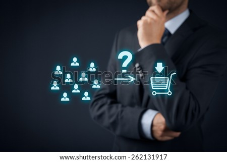 Consumer behavior analysis concept. Businessman analyze if customers will buy product.  - stock photo