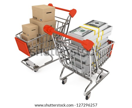 Consumerism concept. Shopping carts with boxes and money on a white background - stock photo