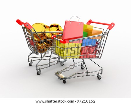 Consumerism. Purchase of goods for money. Shopping cart with boxes and coins. 3d - stock photo