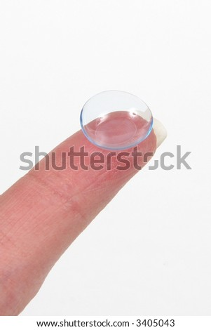Contact Len on Finger with White background - stock photo