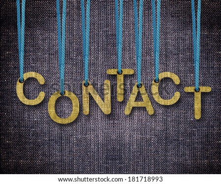 Contact Letters hanging strings with blue sackcloth background. - stock photo