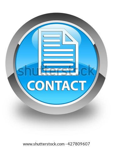 Contact (page icon) glossy cyan blue round button - stock photo