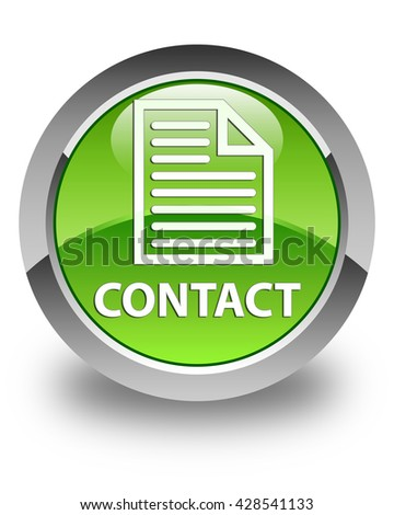 Contact (page icon) glossy green round button - stock photo
