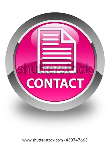 Contact (page icon) glossy pink round button - stock photo
