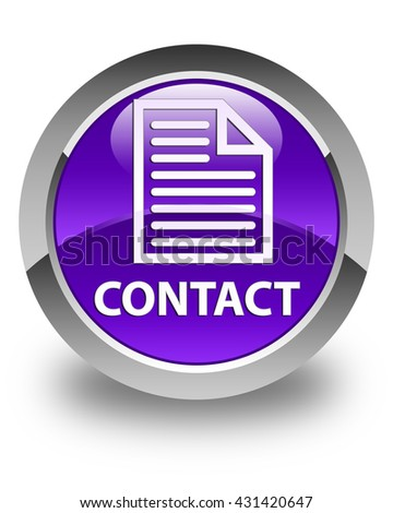 Contact (page icon) glossy purple round button - stock photo