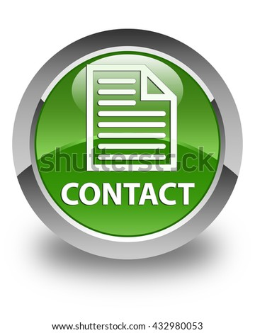Contact (page icon) glossy soft green round button - stock photo