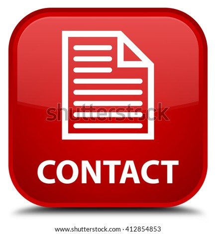 Contact (page icon) red square button - stock photo