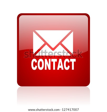 contact red square glossy web icon on white background - stock photo