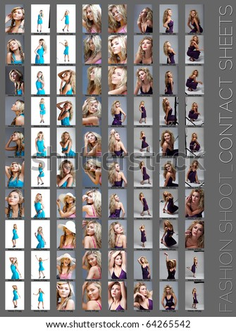 contact sheet of a professional fashion shoot for a beautiful blond woman, 80 images, unretouched. - stock photo