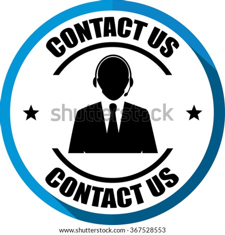 Contact us(Customer care icon) blue, Button, label and sign. - stock photo