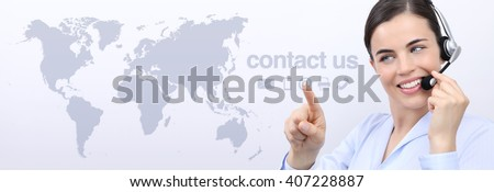 contact us, customer service operator woman with headset smiling and touch icon on screen - stock photo