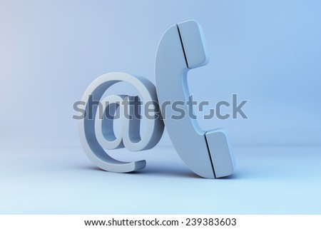 contact us. 3d render of e-mail and phone - stock photo
