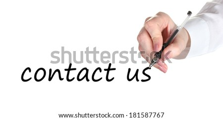 Contact us hand writing with pen on transparent board - stock photo