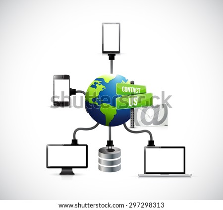 contact us mail electronics diagram illustration design over white - stock photo