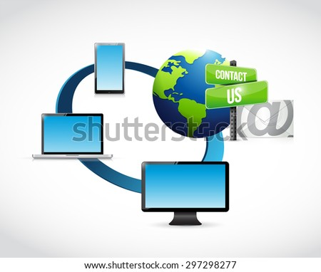 contact us mail electronics illustration design over white - stock photo