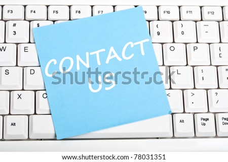 Contact us mesage on keyboard - stock photo