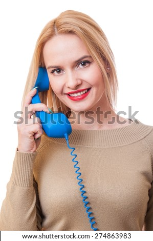Contact us, support or assistance concept with a woman holding a phone - stock photo