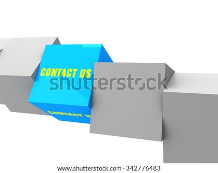 contact us text on box, unique concept - stock photo