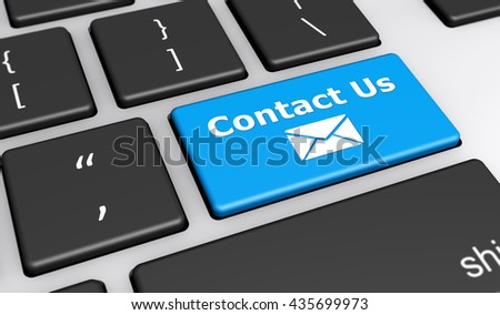 Contact us web and website concept with email icon and contact us word on a blue computer button keyboard 3D illustration. - stock photo