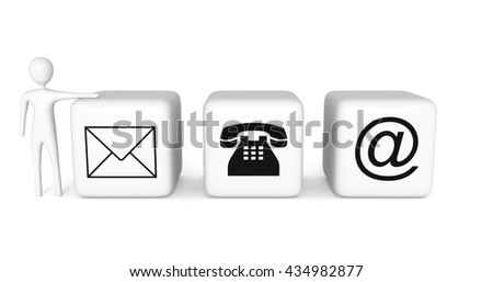 Contact us: white cubes with a white 3d man on a white background, 3d illustration - stock photo