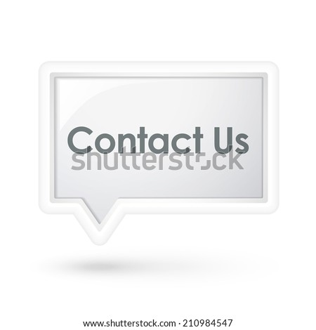 contact us words on a speech bubble over white - stock photo